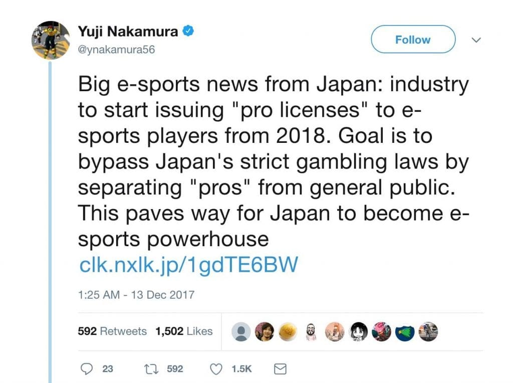Japan esports pro gaming licenses