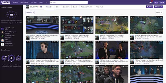 ESL Dota 2 Twitch live-streaming