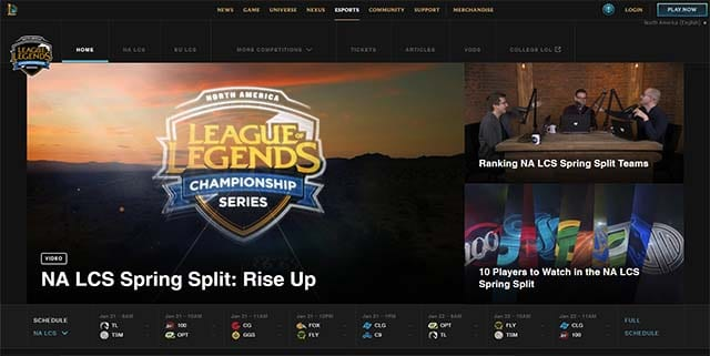 League of Legends esports live-streams at Riot Games
