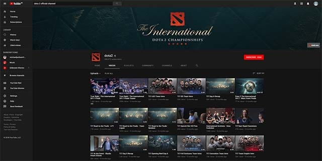 Dota 2 esports YouTube watch
