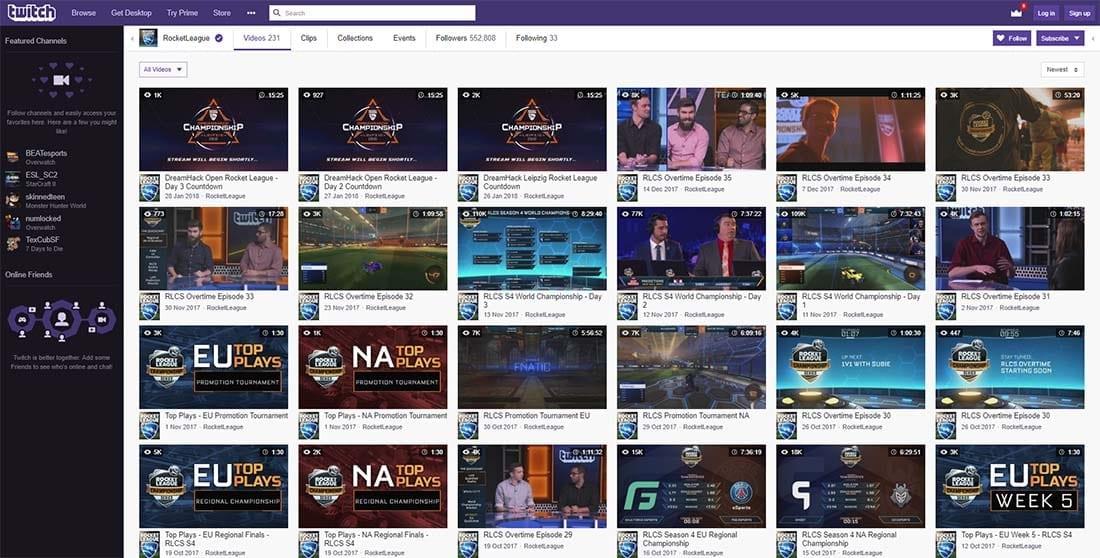 Rocket League esports tournaments Twitch.tv