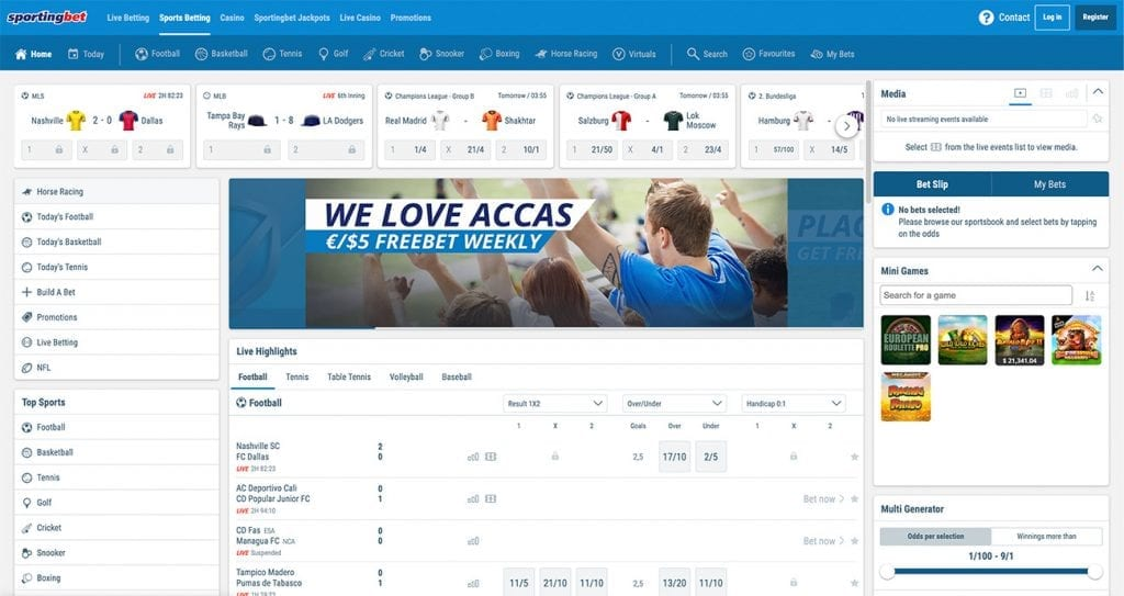 SportingBet site layout